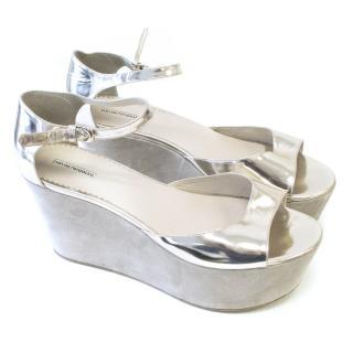 Emporio Armani Silver Platform Sandals