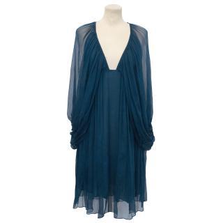 Vanessa Bruno Petrol Blue Silk Mini Dress