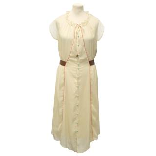 Lauren Moffatt Cream Silk Chiffon Dress