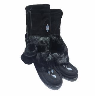 Mukluks Black Suede Rabbit Fur Boots