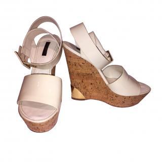 Louis Vuitton Wedged White Sandals