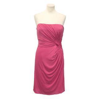 Issa London Silk Pink Strapless Dress