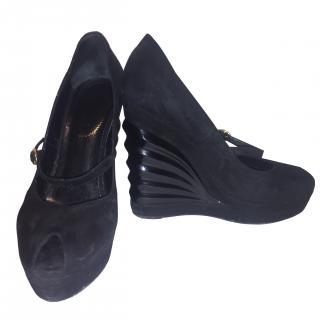 YSL Black Suede Wedge Shoes