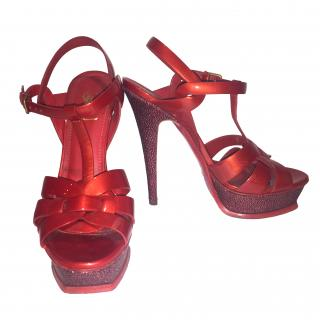 YSL Red Leather Galouche Sandals