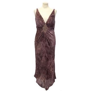 Emanuel Ungaro Patterned Purple Dress