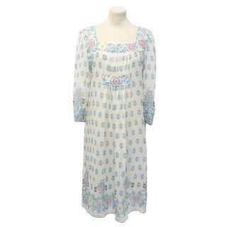 Anna Sui Cream Silk Patterned Dress