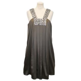 Collette Dinnigan Brown Silk Dress with Jewelled Neckline