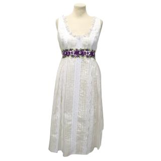 Anna Sui White Lace Dress With Purple Floral Detailing