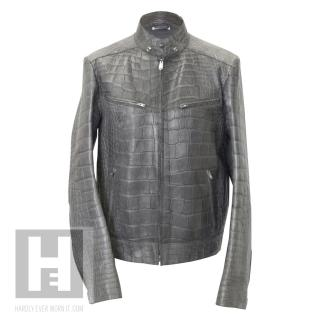 Yves Saint Laurent grey Crocodile leather jacket