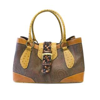 Etro Paisley and Tan Leather Bag
