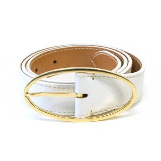 Loro Piana White Leather and Gold Belt