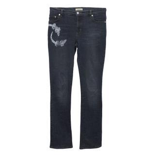 Blumarine Denim Jeans With Silver Embellished Lizards