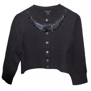 Marc Jacobs Embellished Cropped Black Cardigan