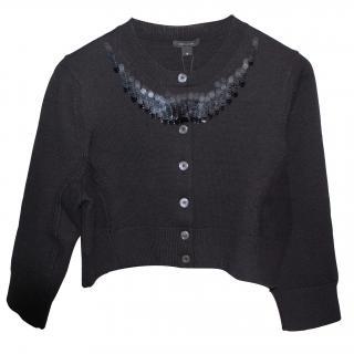 Marc Jacobs Embellished Cropped Black Cardigan