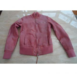 EARL JEANS- PINK LEATHER BOMBER JACKET RRP �500