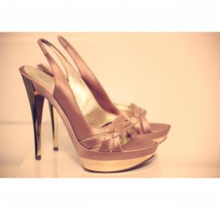 Casadei Golden Platform Sandals size 38