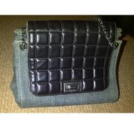 Chanel denim and leather quilted handbag