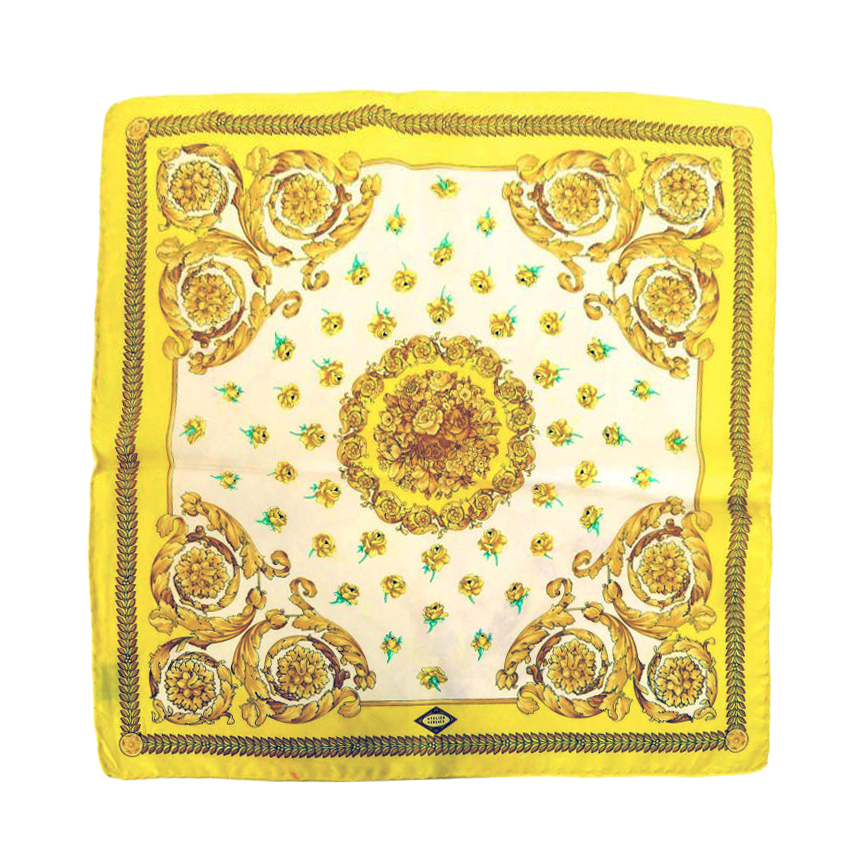Atelier Versace Floral Yellow Silk Scarf