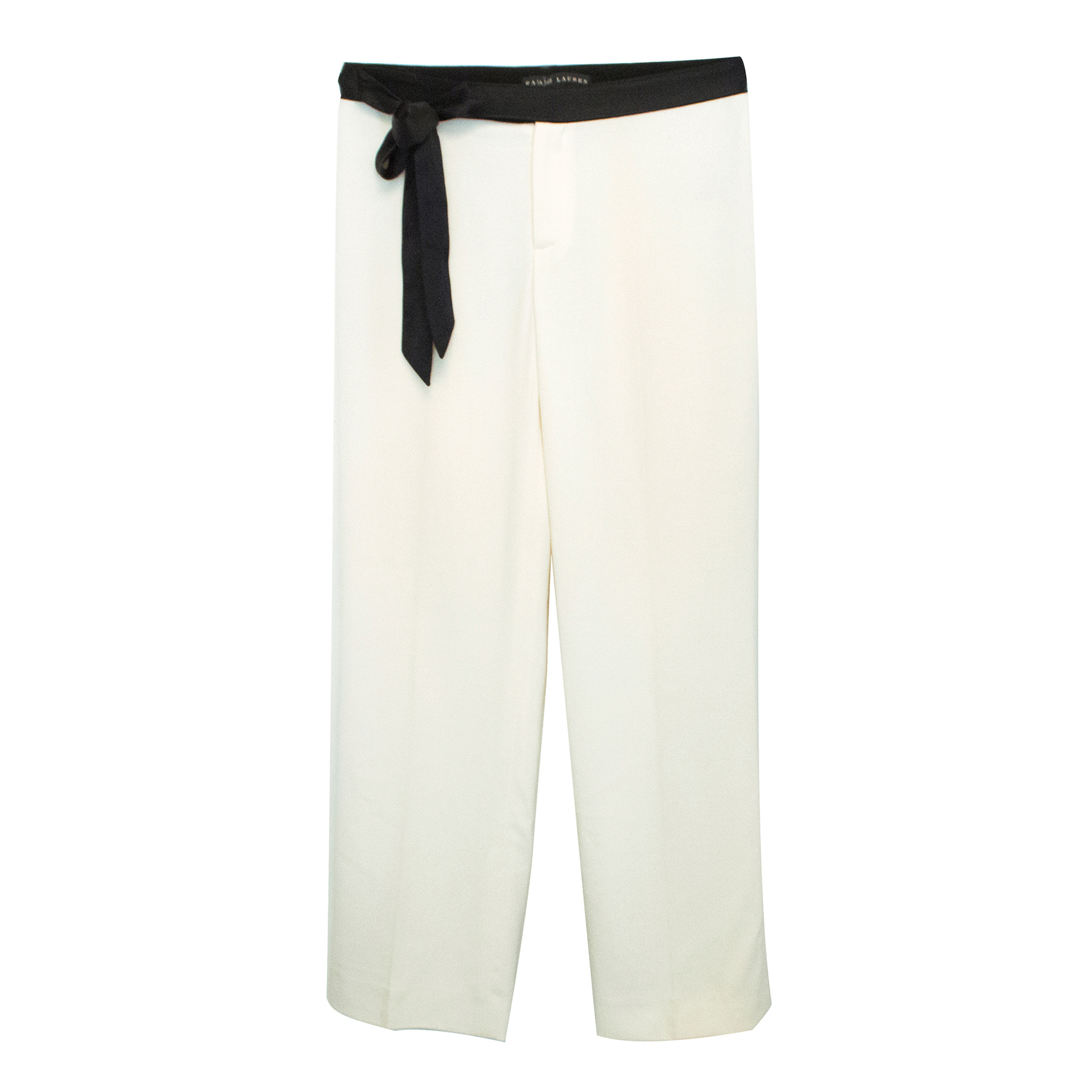 Ralph Lauren Cream Wool Trousers With Black Satin Belt