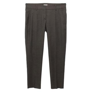 Gunex Grey Wool Slim Fit Tailored Trousers