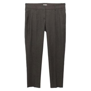 Gunex Grey Wool Slim Fit Tailored Trousers