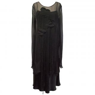 Alberta Ferretti Black Silk Dress with Floral motif