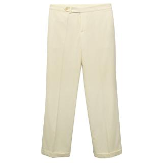 Ralph Lauren Cream Wool Trousers With Fold Over Hem