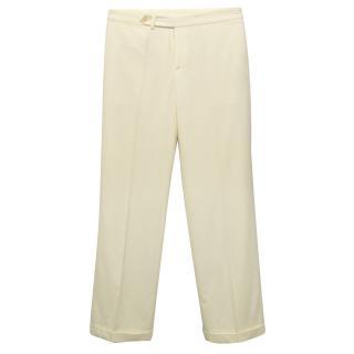 Ralph Lauren Cream Wool Trousers With Fold Over Hem