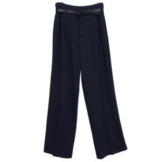 Ralph Lauren Collection Navy Flared Wool Trousers With Belt