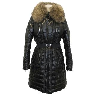 Moncler Shiny Black Long Quilted Coat With Racoon Fur Collar