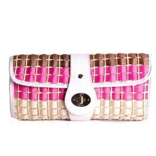 Kate Spade Pink Straw Clutch Bag
