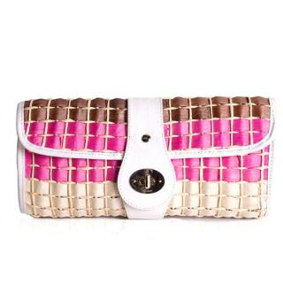 Kate Spade Pink Straw Clutch Bag