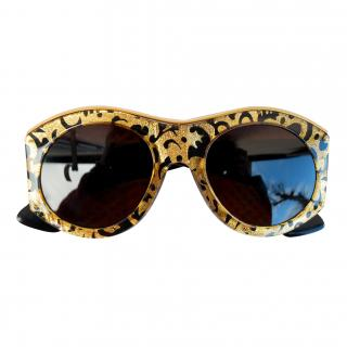 Christian Lacroix : Vintage Gold & Black Baroque Sunglasses - Mint condition