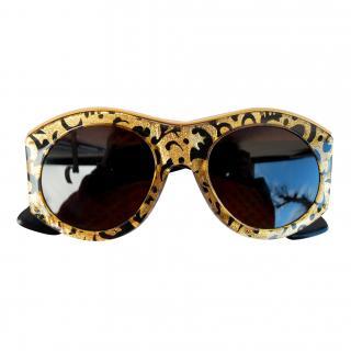 Christian Lacroix : Vintage Gold & Black Baroque Sunglasses - Mint condition