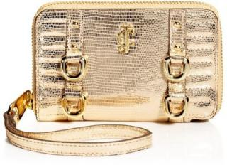 Juicy Couture 'Dylan' gold leather tech wristlet