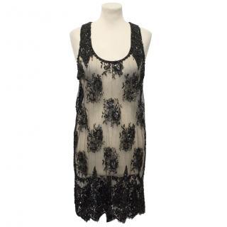 Collette Dinnigan Beaded Black Lace Dress