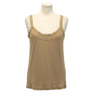 Luisa Cerano Tan Strap Top With Lace Detailing