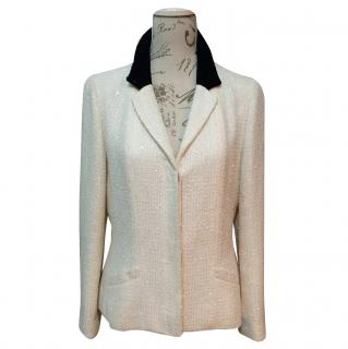 Chanel Sequin & Tweed White and Black Runway Blazer