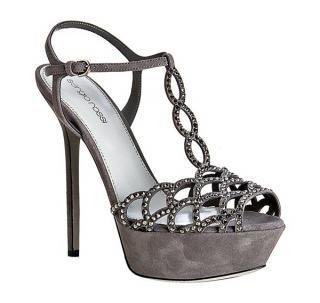 Sergio Rossi Grey Suede And Crystal Platform Sandals