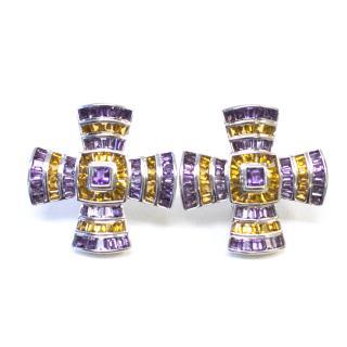 Theo Fennell Citrine and Amethyst Maltese Cross Earrings