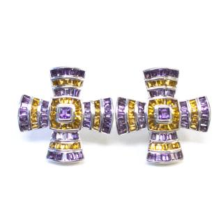 Theo Fennell Citrine and Amethyst Maltese Cross Earrings