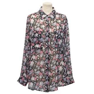Equipment Black Floral Top