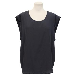 Pyrus Navy Silk Sleeveless Top