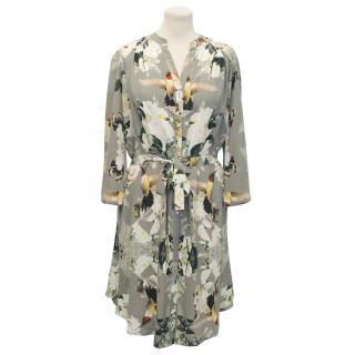 Pyrus Grey Bird Print Silk Dress