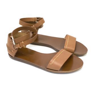 Ralph Lauren Collection Tan Leather Sandals