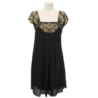 Temperley London Beaded Black Silk Dress
