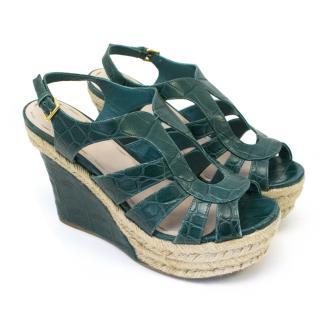Miu Miu Forest Green Sandal Wedges