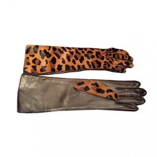 Prada Leopard Print Gloves