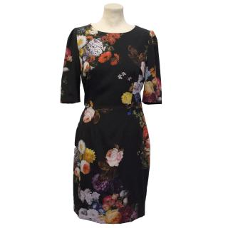 Dolce & Gabbana Black Floral Print Dress