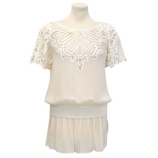 Temperley London Cream Silk Top with Embroidered Detailing